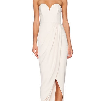 Shona Joy Bustier Draped Maxi Dress in Beige