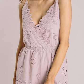 Ally Dusty Blush Eyelet Romper