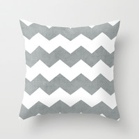 chevron - gray Throw Pillow by her art