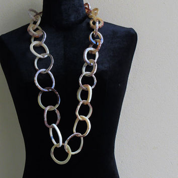 Tribal style long link chain horn necklace