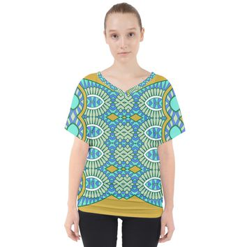 Green Blue Shapes V Neck Dolman Drape Top V-Neck Dolman Drape Top