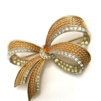 Brooch Sale Marcel Boucher Bow Brooch, Three Dimensional, Textured Gold Tone, Clear Ice Rhinestones, Designer Signed