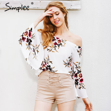 Simplee Off shoulder chiffon blouse shirt women Sexy summer white print blouse Casual flare sleeve cool blouse