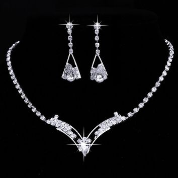 Women Sparkling V Shaped Rhinestone Crystal Necklace Earrings Set Charm Wedding Bridal Jewelry Set 2016 charms jewelry