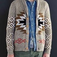 Koto Patterned Shawl Cardigan- Brown