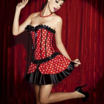 Polka Dots Printed High Neck Strapless Mini Skirt Women's Corset
