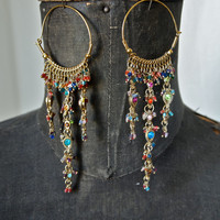 Vintage Indian Chandelier Runway Earrings Gold Plated and Multi-Color Glass Beads Wedding Jewelry