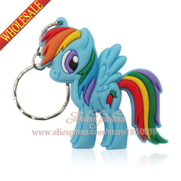 1PCS Twilight Sparkl e Friendship Is Magic little horse Rarity Fluttershy Dash Keys Chain Keychain For Girl Party Gifts