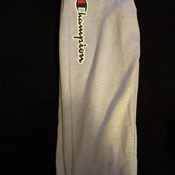 Champion Men's 3XLT Big & Tall Script Spell Out Sweat Pants Grey Fleece Gray NWT