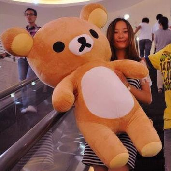 Kawaii big brown japanese style rilakkuma plush toy teddy bear stuffed animal doll birthday gift free shipping