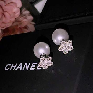 Chanel Rose Pearl Earring Drop