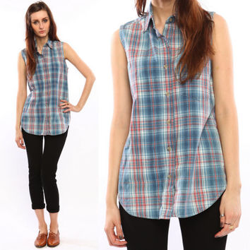 plaid denim shirt // vintage 90s // sleeveless jean by shopCOLLECT