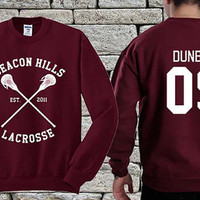 BEACON HILLS Lacrosse Team White Maroon sweater sweatshirt teen wolf. Personalized back Liam Dunbar 09