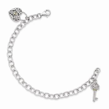 Sterling Silver w/14k Gold Diamond Heart Lock and Key 7in Bracelet
