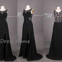 Black Rhinestones Beading Split Front Long  Prom Dress/Sexy Black Party Dress/Black Evening Dress/Slim Dress/Plus Size Prom Dress DH324