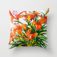 Tigerlily Throw Pillow by Marlene Holdsworth