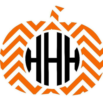 Chevron Pumpkin Circle Monogram Decal