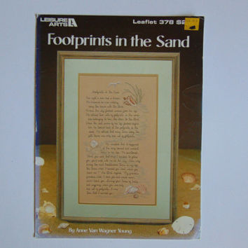 Footprints in the Sand Leisure Arts 378 Cross Stitch 1985