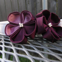 Dog Collar and Flower - READY TO SHIP Plum and lavender Kanzashi Wild Flowers on White Dog Collar - purple Wedding Collar