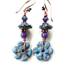 Blue, purple and green with copper. Lamp work glass, stone and copper earrings.