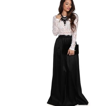 Monica Black Lace And Taffeta Two Piece Prom Dress