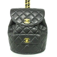 Auth CHANEL Matelasse Black Lambskin Backpack Gold Hardware