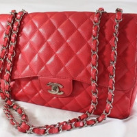 "~~ SPECIAL EDITION ~~ $6500 CHANEL RED QUILTED ""CAVIAR LEATHER"" JUMBO FLAP BAG ~"