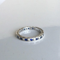 1.20ct Art Deco Platinum Sapphire & Diamond Eternity Wedding Ring stack rings JEWELFORME BLUE not blue nile