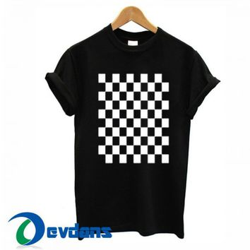 Checkered Black T Shirt Women And Men Size S To 3XL