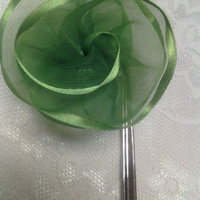 Green Fabric Flower Ribbon Large Silver Bookmark