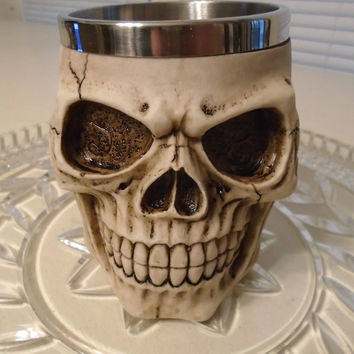 Creative Gifts 3D Special Skull Coffee Mug Cups Stainless Steel Drinkware Skeleton Resin Halloween Home Desk Cafe Decorations