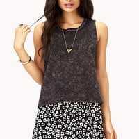 FOREVER 21 Grunge Mineral Wash Tank Charcoal