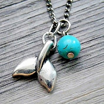 whale tail pendant with customized birthstone crystal necklace