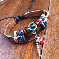 Handmade Eyes Beads Leather Bracelet — accessoryinlove