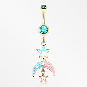 Golden Pastel Princess Stars and Moon Belly Button Ring