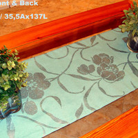 Aqua green floral hand Painted reversible Table Runner 14x54