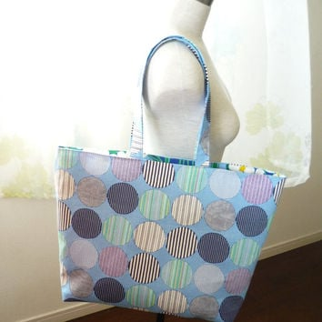 extra large beach tote bag with light blue dot stripe fabric, large tote bag with zipper of Japanese fabric