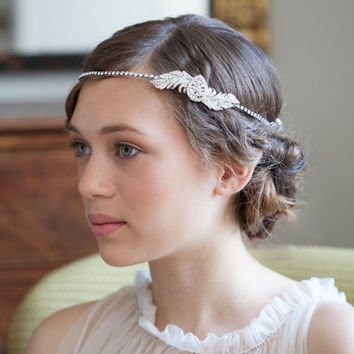 1920s Wedding Headpiece -  Downton Abbey Style -  Great Gasby Headpiece - 1930s Bridal Accessory -  Art Deco Wedding Hair Accessory