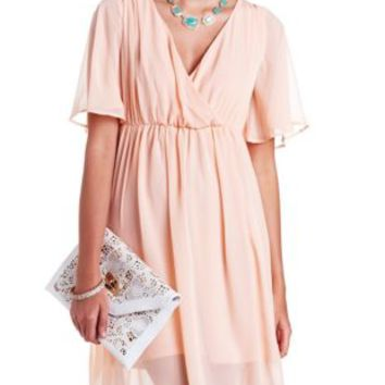 Flutter Sleeve Chiffon Wrap Dress by Charlotte Russe - Blush