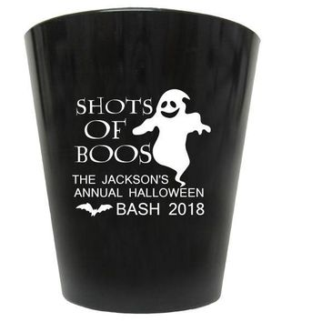 Halloween party favors, Halloween shot glasses, shots of boos, Halloween party, 2oz personalized plastic shot glasses, 50 pieces