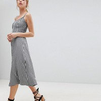 Hollister 90's Button Thru Gingham Midi Dress at asos.com