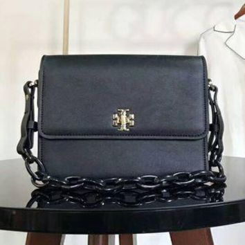 Gotopfashion Tory Burch Bag Black Chain With PU Straps Women Flag Print Shoulder Bag B-AGG-CZDL Black