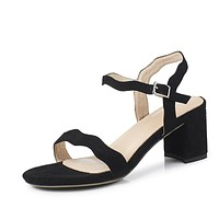 Genuine Leather Chunky Heels Sandals for Women 4826