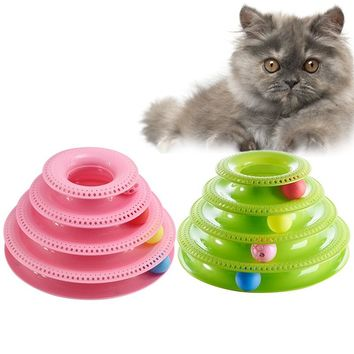 Cat Toy Cat Scratcher Pets Interactive Toys Cats Three-tier Turntable Pet Intellectual Track Tower Funny Plate 4 Balls 3 Balls