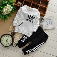 New cotton spring children baby boys girls autumn spring 2pcs clothing set