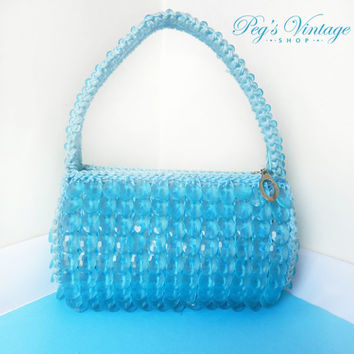 Vintage Blue Beaded Purse, Evening Bag, Trending Mod Plastic Dangle Bead Purse, Prom Clutch Bag