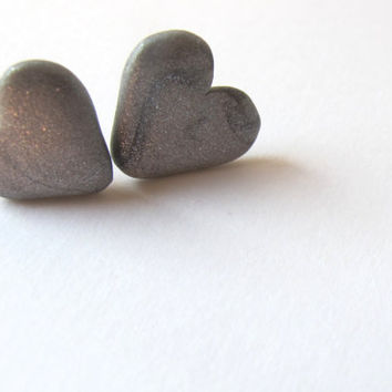 Valentine's Day gift - Heart shaped earrings in silver polymer clay