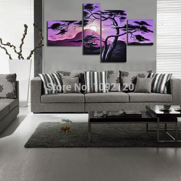 Hand-Painted Wall Art Trees Oil Painting Sunrise African Home Decoration 4 Pcs/Set Abstract Landscape Oil Painting On Canvas