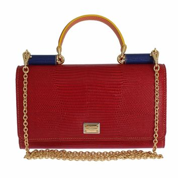 Purse Leather SICILY Red Hand Shoulder Gold Chain Clutch