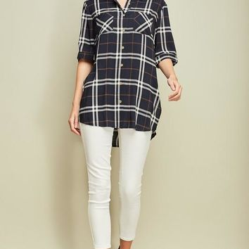 Navy Plaid Short Sleeve Button Up Tunic